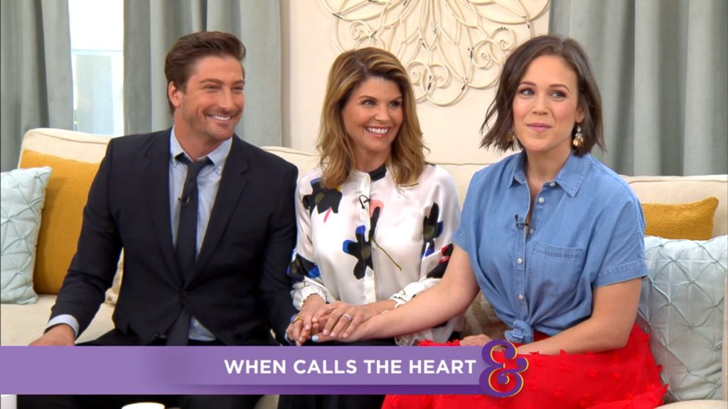 erin krakow daniel lissing and lori loughlin on hallmark channels home family 4232018 - A Christmas Blessing Cast